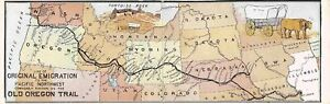 Old Oregon Trail to Pacific Northwest Ezra Meeker Fold Out postcard