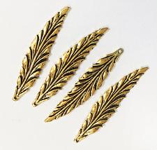 Bulk 40 pcs of Antique gold long leaf pendant 55x12mm