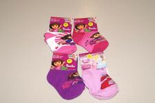 LOT OF 4 GIRLS SZ 4-5.5 DORA EXPLORER, DISNEY ARIEL SOCKS NWT
