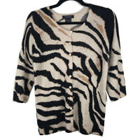 Bloomingdales Womens 100% Cashmere Animal Print Cardigan Size Medium