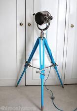 BLUE WOODEN TRIPOD STUDIO THEATRE SPOTLIGHT SEARCHLIGHT FLOOR LAMP LIGHT 4'