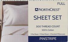NorthCrest Full Sheet Set 100% Cotton 1 Flat Fitted 2 Pillowcases Grey Pinstripe