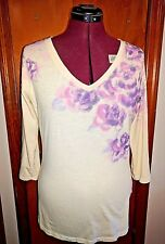 Lucky Brand Womens Knit Top Cotton V Neck Long Sleeve Size Large