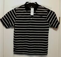 PALM BEACH GOLF SHIRT BLACK WITH WHITE STRIPE MENS MED NWT (A8010)