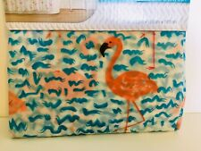 BRIGHT PINK FLAMINGO BLUE WAVES PEVA SHOWER CURTAIN BY HAVEN TROPICAL FLINKO