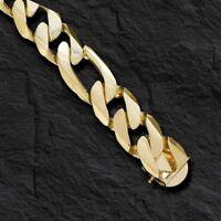 "14k solid Yellow Gold Handmade Figaro Curb Link Mens Bracelet 8"" 118 grams 18MM"