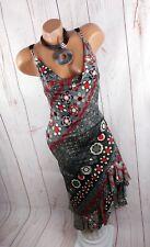 ITALY STYLE Stretch Kleid Partykleid Glitter Salsa Latino grau rot 32 34 36 38