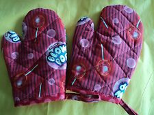 Children's BLOW POPS Oven Mitts, Handmade,Red/Pink,Quilted,Lined,100% Cotton