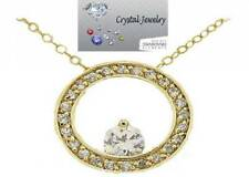 Eternity Circle of life Yellow Gold Plate and Cubic Zirconia pendant with Chain