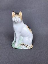 Sweet Antique Staffordshire Victorian Porcelain Calico Cat Figurine Figure Mini
