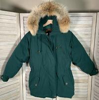 Vtg Eddie Bauer Women's S Petite Green Polar Parka Goose Down Jacket Coyote Fur
