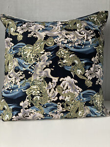 """18"""" Square cushion Cover in Dark Navy with gold metallic Dragons"""