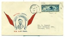 LINDBERGH 1927 C10 FIRST DAY COVER DETROIT JUNE 18,1927 FIRST MAUCK CACHET