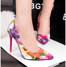 Ladies Floral Printed High Heels Pointed Toe Pumps Slip On Party Prom Shoes Size