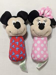 Disney Baby Mickey and Minnie Mouse Stick Rattles Multicolor Soft Set of Two 156