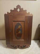 Antique Dutch Hanging Corner Cupboard W. Carved Dutch Girl Plaque & Locking Key
