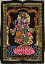 Indischer Radha Krishna auf einem Lotus Mit pailletten Wandbehang Klein
