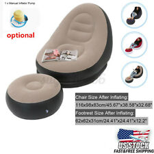 Inflatable Lazy Lounge Chair Pump Ottoman Set Sofa Footrest Home Bedroom Indoor