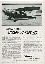 1945 Stinson Aircraft Ad Voyager 150 Personal Plane Private Airplane Vintage