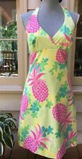 Vintage 90s Lilly Pulitzer Pink Pineapple Print Halter Top Dress Size 6
