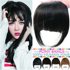 100% Human Hair Air Pony Bangs Extension Clip In Women Fringe Thick Brown Blonde