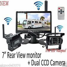 """2x Wireless Antenna Backup Camera 7"""" Car Rear View Monitor For Bus Truck Trailer"""