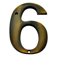 4 Inch Antique Brass #6 House Numbers Home Address Plaque Number Sign Mp4-6-609