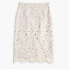 NWT J CREW Collection Pencil Skirt in Austrian Lace 4 S Small White