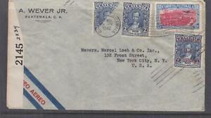 GUATEMALA,1942 censored airmail cover, Guatemala City to USA,1c, 2c, bisect, 15c