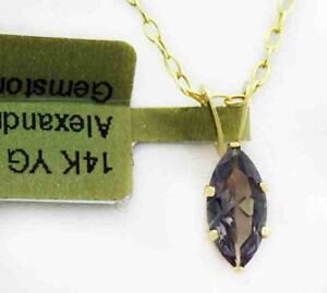 Changing color ALEXANDRITE 0.70 Cts PENDANT 14k YELLOW GOLD ** New With Tag **