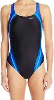 Speedo Women's Swimwear Blue Black Size 4 One-Piece Colorblocked $78 #087