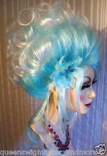 "Drag Queen Wig Torqouis Teal Blue Roots White Tips Updo Gibson Curls ""Light"""