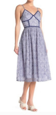 NSR - Summer Floral Lace V-Neck Midi  Dress - Blue & White - Size XL