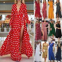 Women Wrap Summer Boho Maxi Dot Print Dress Kaftan Holiday Beach Long Sun Dress