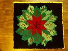 """Vintage Antique Hooked Rag Rug Poinsettia 21.5x23.5"""" Lancaster Cty PA Amish"""
