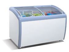 Atosa MMF9109 Commercial Angle Curved Glass Top Chest Freezer - 9 Cu.Ft.