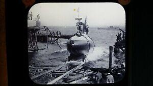 1900'S ANTIQUE GLASS LANTERN SLIDE PHOTOGRAPH SUBMARINE USS SHARK / A-7 SS-8