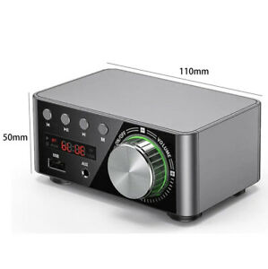 100W Mini Power Amplifier Wireless Receiver Lossless Bluetooth 5.0 Music Silver