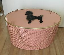 Vintage Pink Poodle PRINCESS ALGONQUIN ILLINOIS Oval Wicker Sewing Basket
