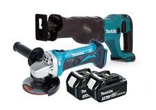 Makita DGA452Z Angle Grinder/Makita DJR186Z Reciprocating Saw (2x 3Ah Batteries)
