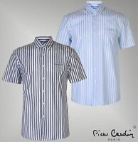 Mens Branded Pierre Cardin Lightweig Washed Stripe Short Sleeve Shirt Size S-3XL