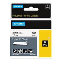 "DYMO Rhino Flexible Nylon Industrial Label Tape 1"" x 11 1/2 ft White/Black Print"