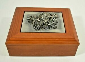 Pewter Pine Cone Wood Jewelry Trinket Box Valet #A68678 - New in Box