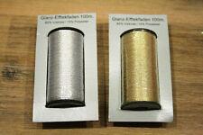 2 Rollen Glanz-Effektgarn gold und silber Garn Nähgarn nähen sticken basteln