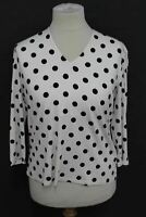 HOBBS Ladies Top Aimee Printed Top V Neck Polka Dot Spot White Ivory Size XL NEW