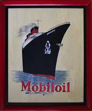 """""""MOBILOIL / PAQUEBOT NORMANDIE"""" Peinture gouache sur bois encadrée"""