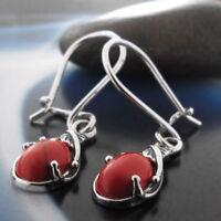 Koralle Silber 925 Ohrringe Damen Schmuck Sterlingsilber H0170
