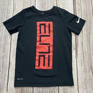 Nike Dri-Fit Boys Size XS Elite Black Short Sleeve Swoosh Logo T-Shirt Tee EUC