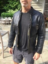 Vintage Men's Horsehide Leather Jacket 1960's Motorcycle Jacket Size Small