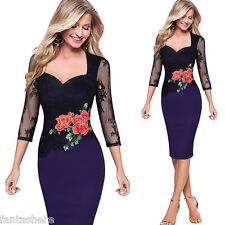 HOT Women's Bodycon Lace Floral Embroidered Formal Evening Party Pencil Dress